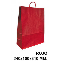 Bolsa en papel kraft con asas retorcidas q-connect en formato 240x100x310 mm. color rojo.