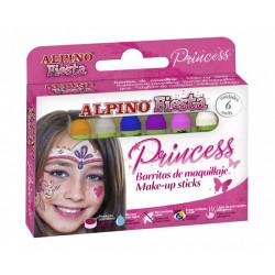 Barra de maquillaje alpino princess de 5 grs. colores surtidos, estuche de 6 uds.