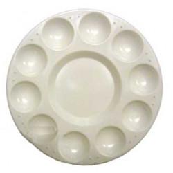 Paleta de plástico artist circular con 10 huecos de Ø 17 cm.