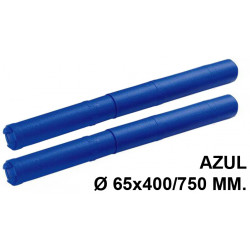 Tubo portaplanos extensible en plástico sin bandolera faibo en formato Ø 65x400/750 mm. color azul.