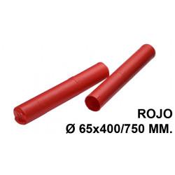 Tubo portaplanos extensible en plástico sin bandolera faibo en formato Ø 65x400/750 mm. color rojo.