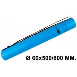 Tubo portaplanos extensible en plástico con bandolera liderpapel en formato Ø 60x500/800 mm. color azul.
