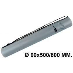 Tubo portaplanos extensible en plástico con bandolera liderpapel en formato Ø 60x500/800 mm. color gris.