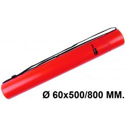 Tubo portaplanos extensible en plástico con bandolera liderpapel en formato Ø 60x500/800 mm. color rojo.