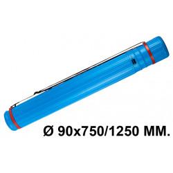Tubo portaplanos extensible en plástico con bandolera liderpapel en formato Ø 90x750/1250 mm. color azul.