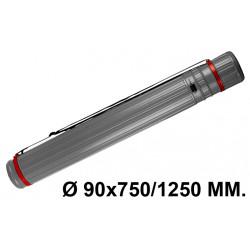 Tubo portaplanos extensible en plástico con bandolera liderpapel en formato Ø 90x750/1250 mm. color gris.