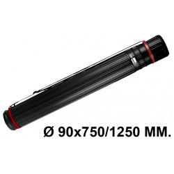 Tubo portaplanos extensible en plástico con bandolera liderpapel en formato Ø 90x750/1250 mm. color negro.