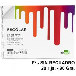 Bloc espiral de dibujo liderpapel escolar en formato Fº, sin recuadro, 20 hj. 90 grs/m².