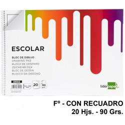 Bloc espiral de dibujo liderpapel escolar en formato Fº, con recuadro, 20 hj. 90 grs/m².