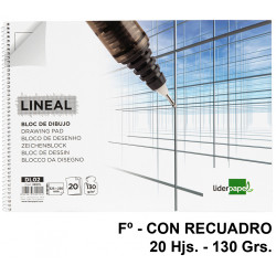 Bloc espiral de dibujo liderpapel lineal en formato Fº, microperforado, con recuadro, 20 hj. 130 grs/m².