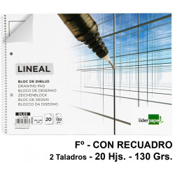 Bloc espiral de dibujo liderpapel lineal en formato Fº, microperforado, 2 taladros, con recuadro, 20 hj. 130 grs/m².