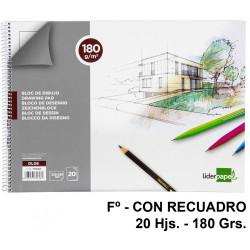 Bloc espiral de dibujo liderpapel lineal en formato Fº, con recuadro, 20 hj. 180 grs/m².