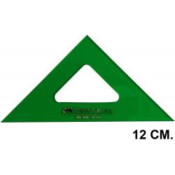 Escuadra faber-castell serie técnica sin graduar 12 cm. verde transparente.