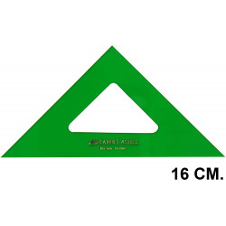 Escuadra faber-castell serie técnica sin graduar 16 cm. verde transparente.