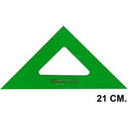 Escuadra faber-castell serie técnica sin graduar 21 cm. verde transparente.