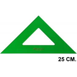 Escuadra faber-castell serie técnica sin graduar 25 cm. verde transparente.