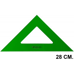 Escuadra faber-castell serie técnica sin graduar 28 cm. verde transparente.