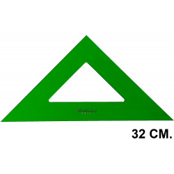 Escuadra faber-castell serie técnica sin graduar 32 cm. verde transparente.