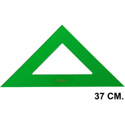 Escuadra faber-castell serie técnica sin graduar 37 cm. verde transparente.