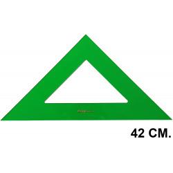 Escuadra faber-castell serie técnica sin graduar 42 cm. verde transparente.