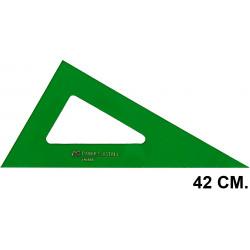 Cartabón faber-castell serie técnica sin graduar 42 cm. verde transparente.
