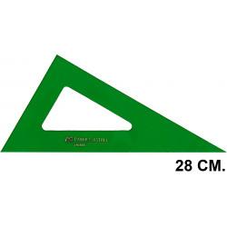 Cartabón faber-castell serie técnica sin graduar 28 cm. verde transparente.