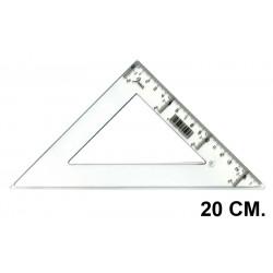 Escuadra faibo serie escolar 20 cm. graduación longitudinal y vertical cristal transparente.