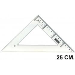 Escuadra faibo serie escolar 25 cm. graduación longitudinal y vertical cristal transparente.