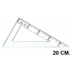 Cartabón faibo serie escolar 20 cm. graduación longitudinal y vertical cristal transparente.