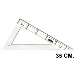 Cartabón faibo serie escolar 35 cm. graduación longitudinal y vertical cristal transparente.