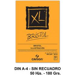 Bloc encolado de dibujo canson xl bristol en formato din a-4, sin recuadro, 50 hj. 180 grs/m².