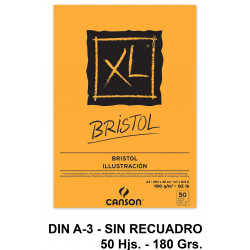 Bloc encolado de dibujo canson xl bristol en formato din a-3, sin recuadro, 50 hj. 180 grs/m².