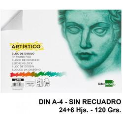 Bloc encolado de dibujo liderpapel artístico en formato din a-4, sin recuadro, 24+6 hj. 120 grs/m².