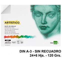 Bloc encolado de dibujo liderpapel artístico en formato din a-3, sin recuadro, 24+6 hj. 120 grs/m².