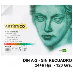 Bloc encolado de dibujo liderpapel artístico en formato din a-2, sin recuadro, 24+6 hj. 120 grs/m².