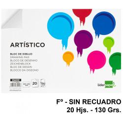 Bloc encolado de dibujo liderpapel artístico en formato fº, sin recuadro, 20 hj. 130 grs/m².
