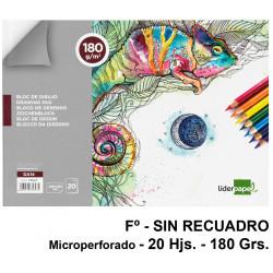 Bloc encolado de dibujo liderpapel artístico en formato fº, microperforado, sin recuadro, 20 hj. 180 grs/m².