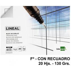 Bloc encolado de dibujo liderpapel lineal en formato Fº, con recuadro, 20 hj. 130 grs/m².