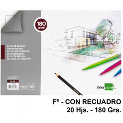 Bloc encolado de dibujo liderpapel lineal en formato Fº, con recuadro, 20 hj. 180 grs/m².