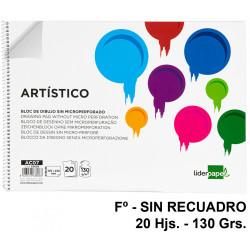 Bloc espiral de dibujo liderpapel artístico en formato Fº, sin recuadro, 20 hj. 130 grs/m².
