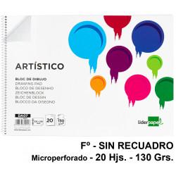 Bloc espiral de dibujo liderpapel artístico en formato Fº, microperforado, sin recuadro, 20 hj. 130 grs/m².