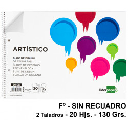 Bloc espiral de dibujo liderpapel artístico en formato Fº, microperforado, 2 taladros, sin recuadro, 20 hj. 130 grs/m².