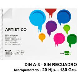 Bloc espiral de dibujo liderpapel artístico en formato din a-3, microperforado, sin recuadro, 20 hj. 130 grs/m².