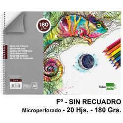 Bloc espiral de dibujo liderpapel artístico en formato Fº, microperforado, sin recuadro, 20 hj. 180 grs/m².