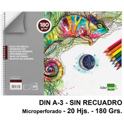 Bloc espiral de dibujo liderpapel artístico en formato din a-3, microperforado, sin recuadro, 20 hj. 180 grs/m².
