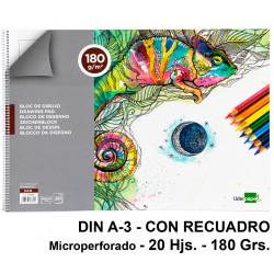 Bloc espiral de dibujo liderpapel artístico en formato din a-3, microperforado, con recuadro, 20 hj. 180 grs/m².