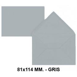 Sobre de color liderpapel en formato 81x114 mm. offset, 80 grs/m². color gris, pack de 12 uds.