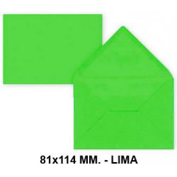 Sobre de color liderpapel en formato 81x114 mm. offset, 80 grs/m². color lima, pack de 12 uds.