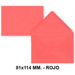 Sobre de color liderpapel en formato 81x114 mm. offset, 80 grs/m². color rojo, pack de 12 uds.