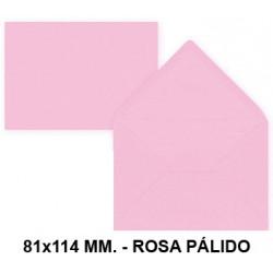Sobre de color liderpapel en formato 81x114 mm. offset, 80 grs/m². color rosa pálido, pack de 12 uds.
